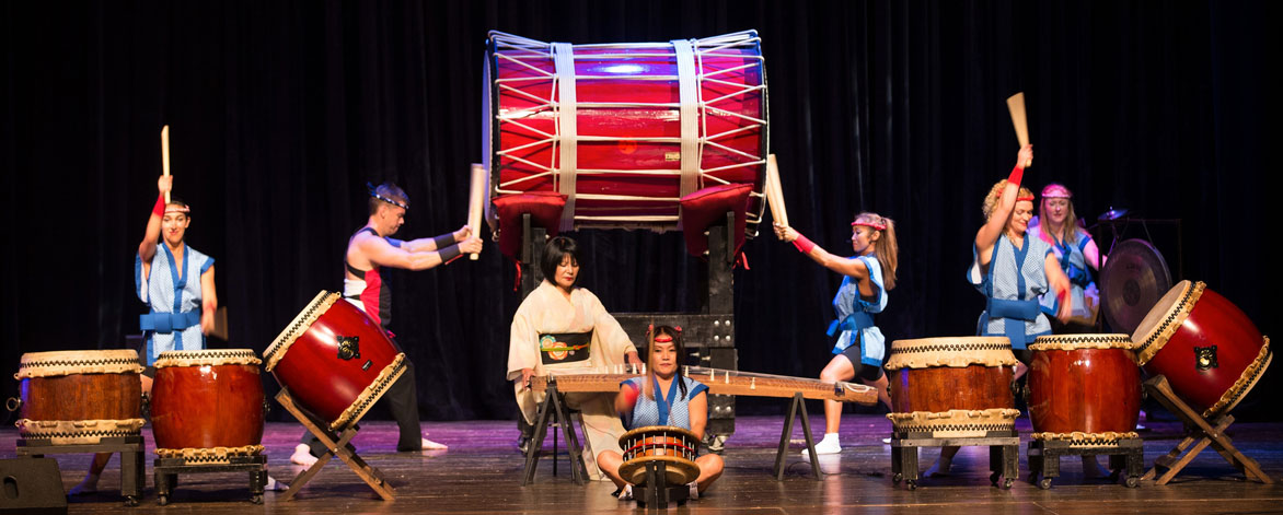 Japanese Taiko Drumming stuns live audiences with their thundering rhythms, dynamic movements, and intense showmanship.